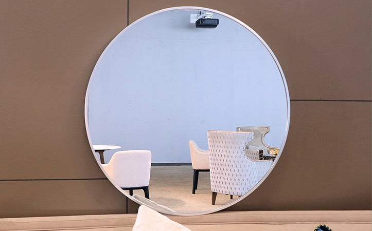 Decorative large round silver frame mirror for bathroom