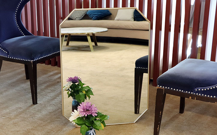 custom size gold framed mirror for decoration